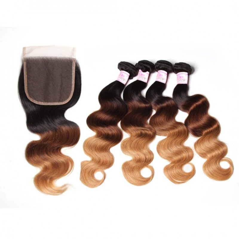 Ombre Body Wave 4Bundles Virgin Hair With Closure
