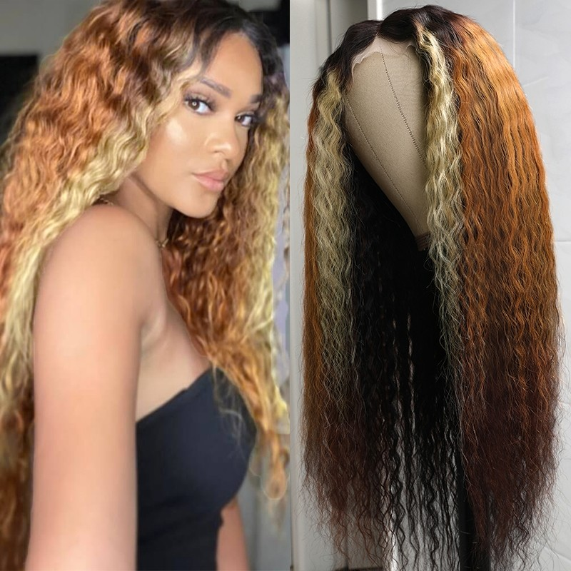 Ombre Highlights Deep Wave T Part Wig