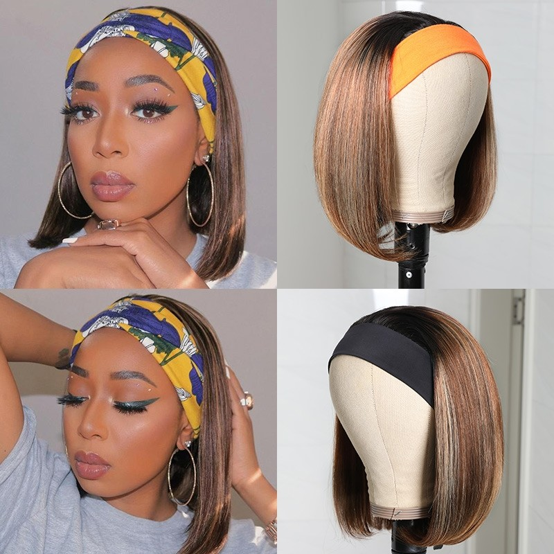 Ombre Straight Short Bob Wigs