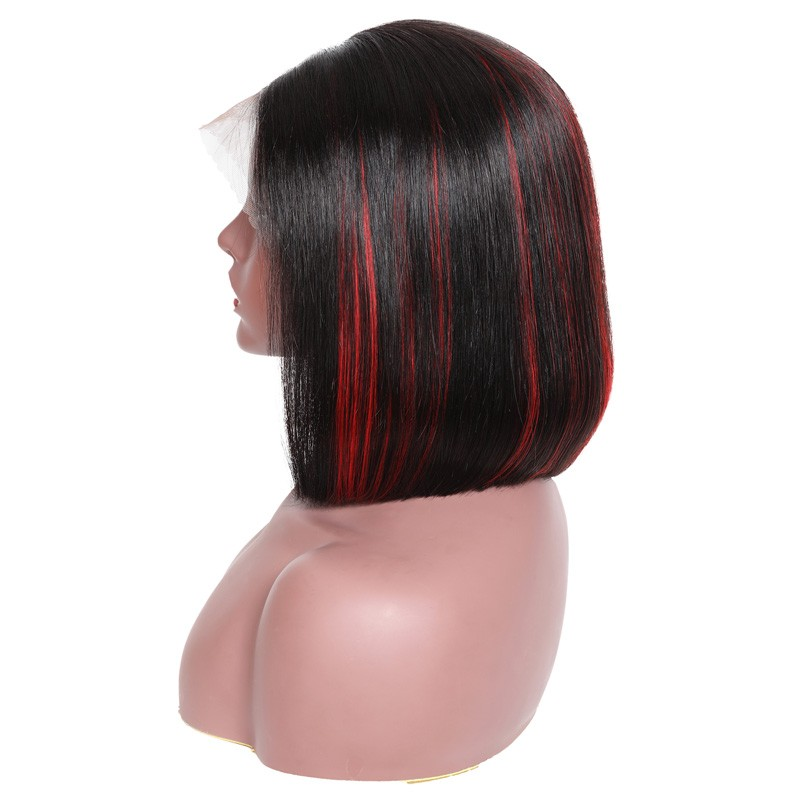 Bob Wig Black Hair With Highlight Red