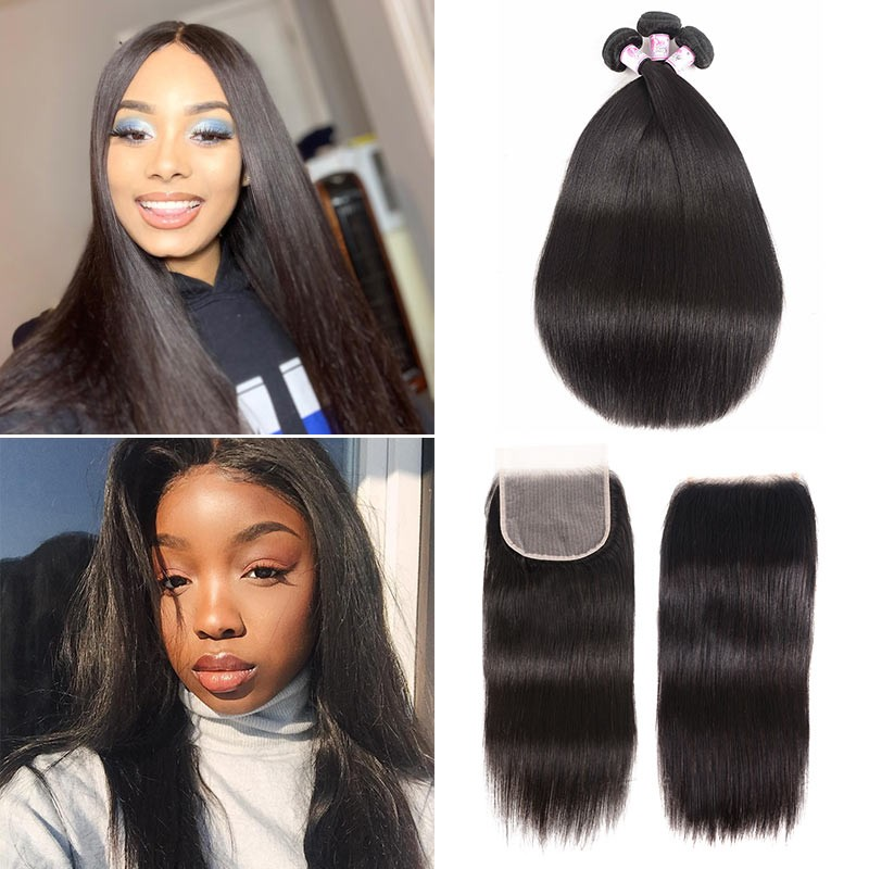 Straight 3 Bundles With Free Part 5x5 HD Lace Closure