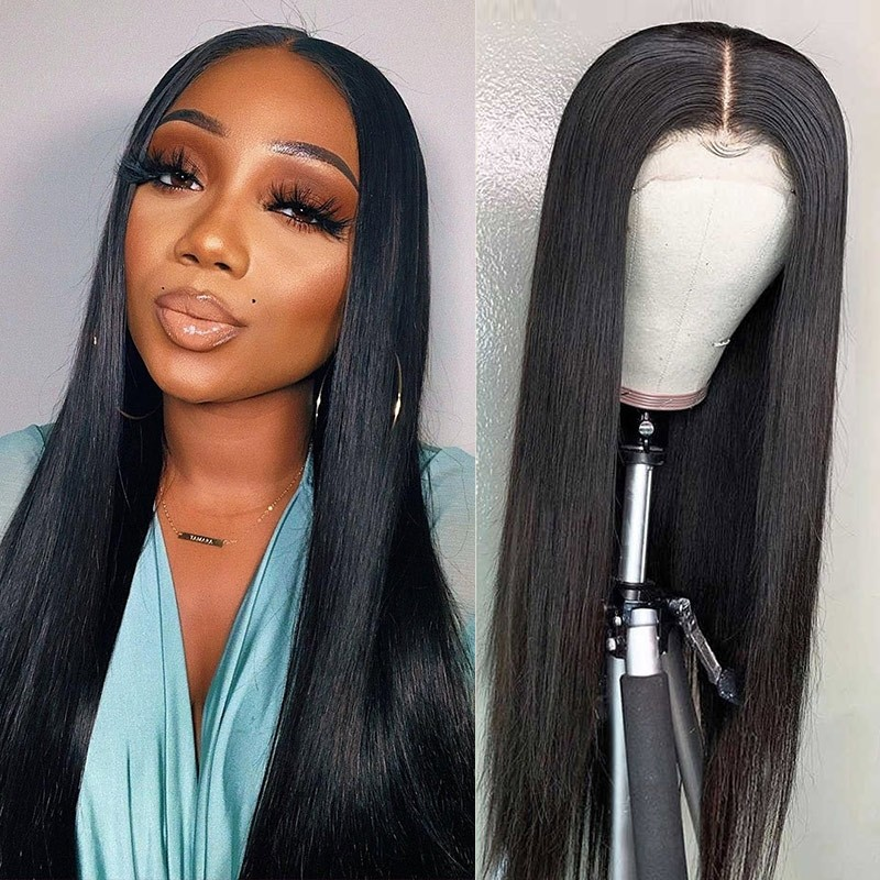 Straight Hair Pre-plucked Lace Part Wig