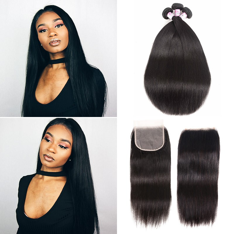 straight 3bundles with 5x5 transparent lace closure