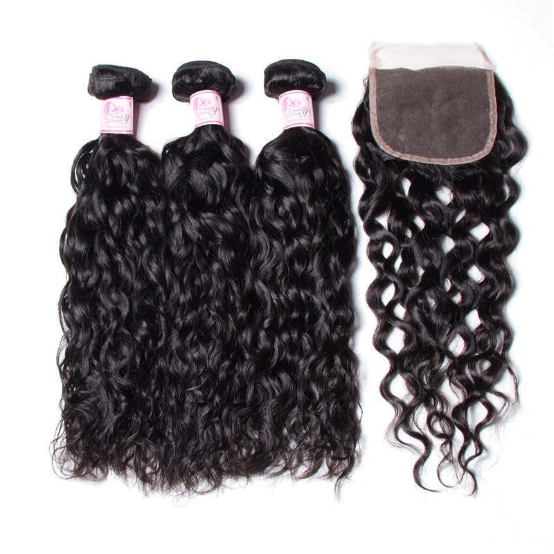 Peruivan Water Wave Lace Closure With Bundles