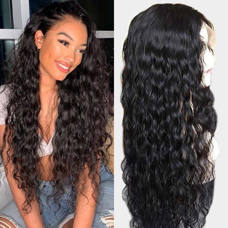 Water Wave Natural Hairline Lace Front Wigs