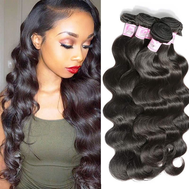Hair Weaves Brazilian Human Hair Weave Bundles Deal Ocean Wave 3 Bundles Human Hair Estentions Double Weft Natural Color Remy Hair Weaving Hair Extensions & Wigs