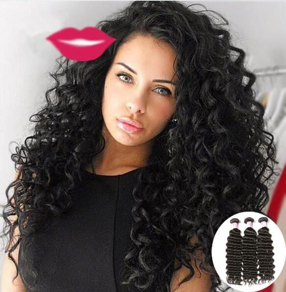 Beautyforever Indian Virgin Deep Wave Hair Weave 3 Bundles Deals