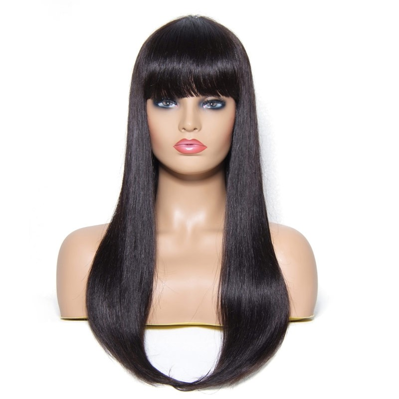 Beautyforever Long Straight Wigs With Bangs Styles 100% Human Hair 4 ... 7293a6c8b6