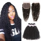 Beautyforever Best Curly Malaysian Virgin Hair 3Bundles With 4x4 Lace Closure