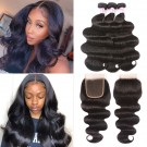 Beautyforever Indian Body Wave Hair 3Bundles With 4*4 Lace Closure