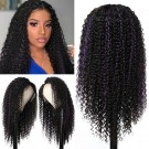 Beautyforever 13x4 Human Hair Lace Wig Curly Hair Highlights TG Purple 150% Density