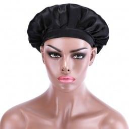 Beautyforever Soft Satin Sleeping Cap Silk Night Sleep Hat NightCap For Women Black Color - T
