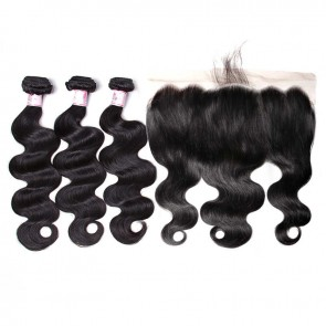 Body Wave 3 Bundles Deals With 13 By 6 Lace Frontal Virgin Remy Hair Piece