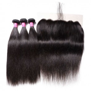 Long Straight Remy Hair 3 Bundles And A 13 By 6 Lace Frontal Deal