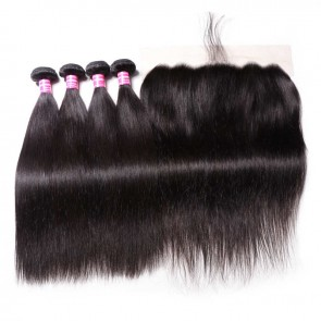 13 By 6 Lace Frontal With 4 Bundles High Quality Straight Human Hair