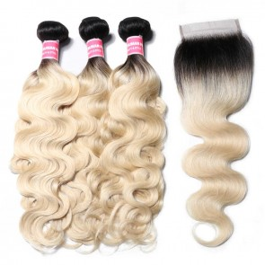 Lace Colsure With 3 Bundles Body Wave Human Hair 1B/613 Color On Sale