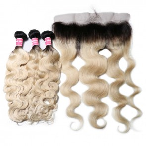 1B/613 Body Wave 3 Bundles With 13*4 Ear To Ear Lace Frontal 100% Human Hair
