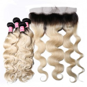 Human Hair Lace Frontal With Body Wave 1B/613 Color Hair 4 Bundles Deals