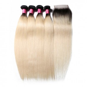 4 Bundles Deals With Lace Closure Straight Virgin Hair 1B/613 Ombre Color