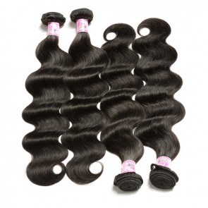 Premium Malaysian Body Wave Human Virgin Hair 4Bundles Deals 1B Color