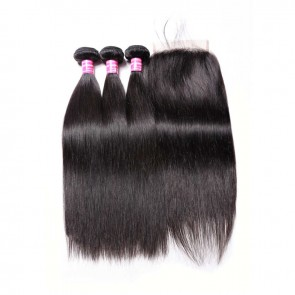 Straight Virgin Remy Hair 3 Bundles With 5 By 5 Lace Closure Deals