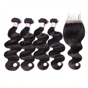 Body Wave Human Hair Weave 4 Bundles With 5 By 5 Lace Closure Sew In