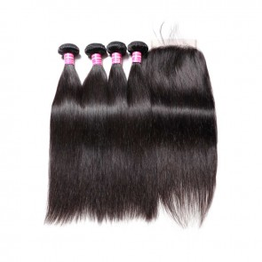 5 By 5 Lace Closure Piece With 4 Bundles Straight Weave Human Hair
