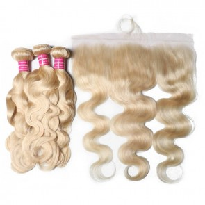 13*4 Lace Frontal With 3 Bundles Deals Body Wave 613 Blonde 100% Human Hair