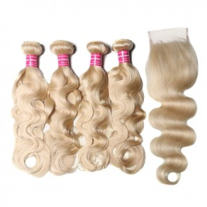 4 Bundles Body Wave Lace Closure With 613 blonde Human Hair