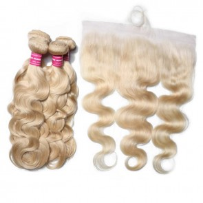Body Wave 613 Blonde Human Hair 4 Bundles With 13*4 Inch Lace Frontal