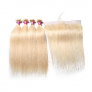 4 Bundles Deals With 613 Blonde Long Straight Lace Frontal