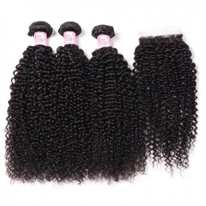 Kinky Curly Hair Closure With 3 Bundles