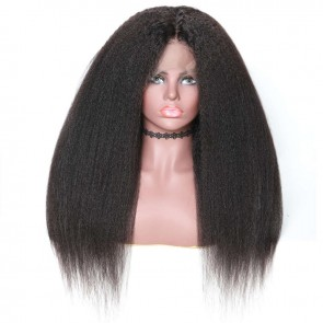 360 Lace Frontal Long Kinky Straight 150% Density Human Hair Wigs On Sale