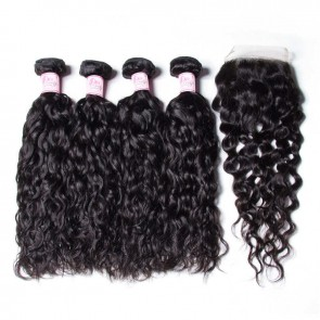 Peruvian Water Wave 4 Bundles With Closure