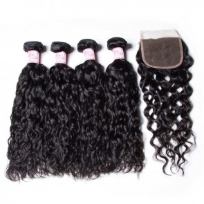 Freetress Brazilian Water Wave Hair 4 Bundles With Closure