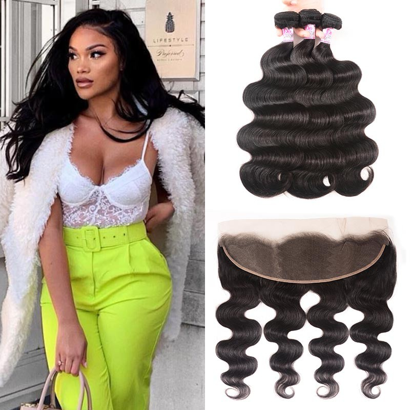 13''x4'' Lace Frontal  With 3Bundles Body Wave
