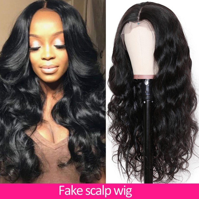 fake scalp 13x4 body wave hair wig