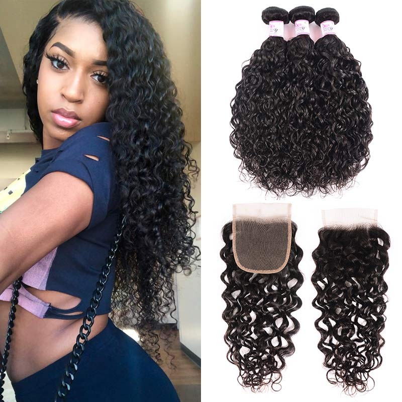 Loose Water Wave Bundles With Lace Closure
