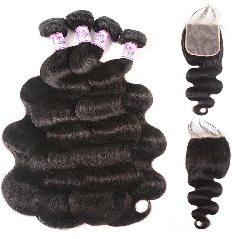 4 Bundles Brazilian Body Wave Hair With 6x6 Lace Closure