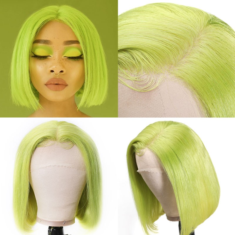 Beautyforever Neon Green Bob Wig 150% Density Straight Human Hair Pre Plucked 13x4 Lace Front Wigs