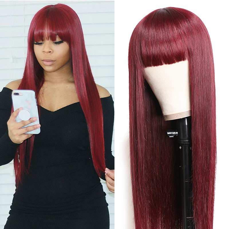 Glueless Non-Lace Human Hair Wigs With Bangs