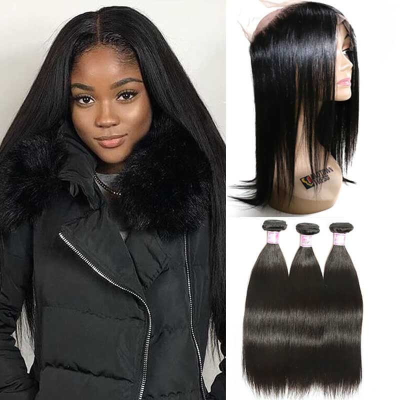 Beautyforever 360 Full Lace Frontal Closure With 3Bundles Straight Virgin  Human Hair 9fdfd8d81c91