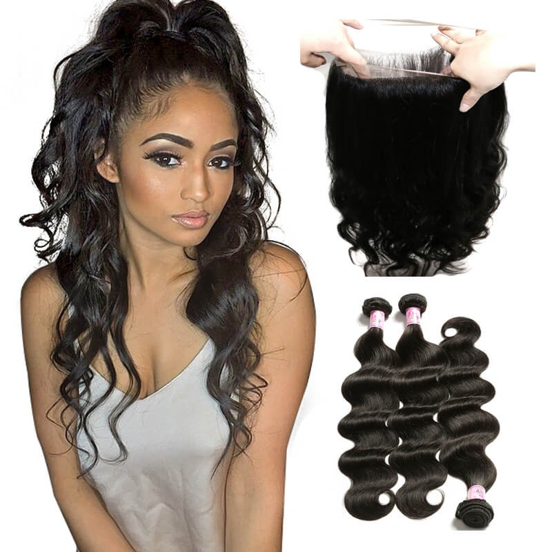 Beautyforever 360 Lace Frontal Closure With Body Wave Wet and Wavy Human  Hair 3Bundles c13f955ed72d