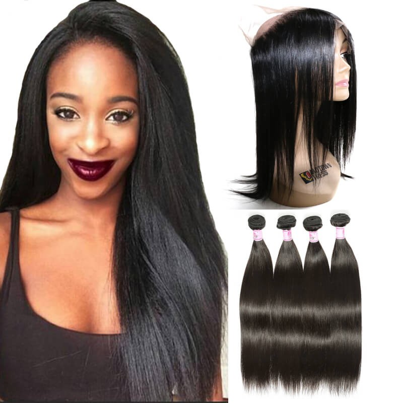 Beautyforever Straight Hair 360 Lace Frontal With 4Bundles Remy Hair  Natural Color 4f006584e