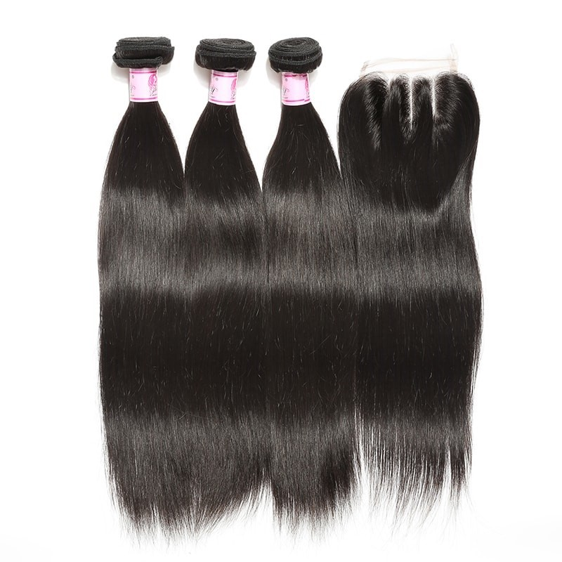 Straight Lace Closure With 4Bundles