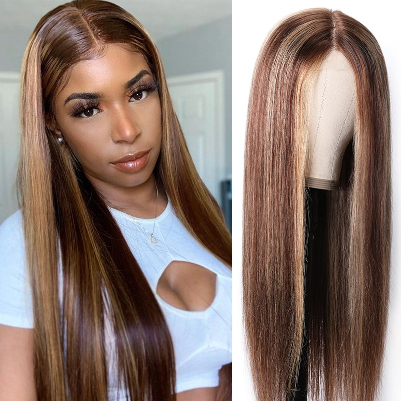 Beautyforever Blonde Highlight Piano Color Hand Tied Lace Wig 412 Best Human Hair Wig Long Straight Hair 150 Density