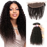 Beautyforever Indian Jerry Curly Frontal Closure With 3Bundles Virgin Hair