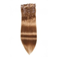 Beautyforever Straight Clip In Hair Brown 12# Remy Human Hair Extensions