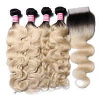 Beautyforever Body Wave 4*4 Lace Closure With 4 Bundles 1B/613 Color