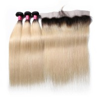 Beautyforever 1B/613 Blond Ombre Color Straight Natural Hair 3 Bundles With Lace Frontal